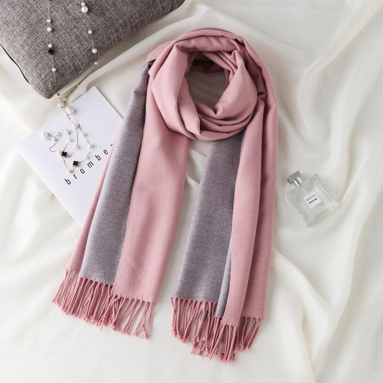 khăn cashmere trơn 2 màu CA903
