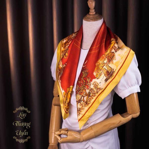 Khăn lụa tơ tằm Trống đồng Đại Việt - đỏ vàng