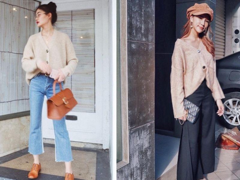 Cách phối áo len với quần jean