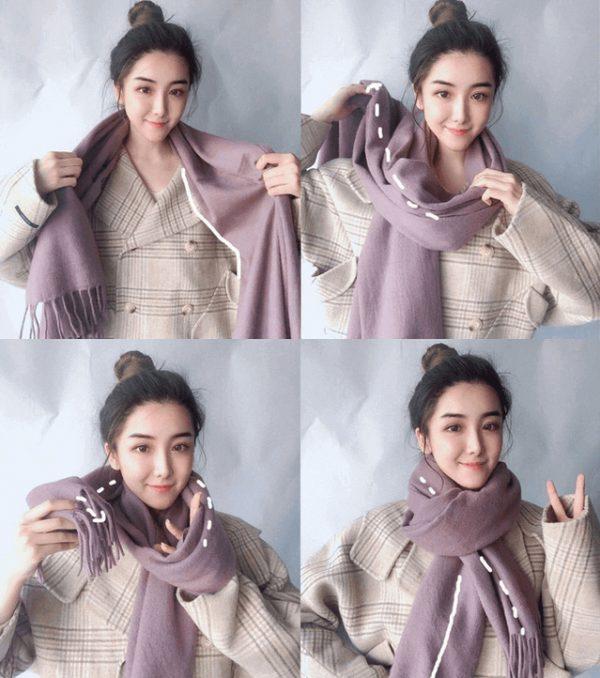 cách đeo khăn choàng cổ