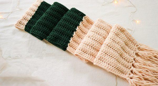 Cách đan khăn len 2 màu xen kẽ nhau